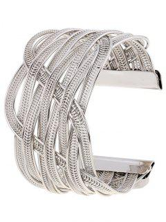 Cut Out Chain Cuff Bracelet - Silver