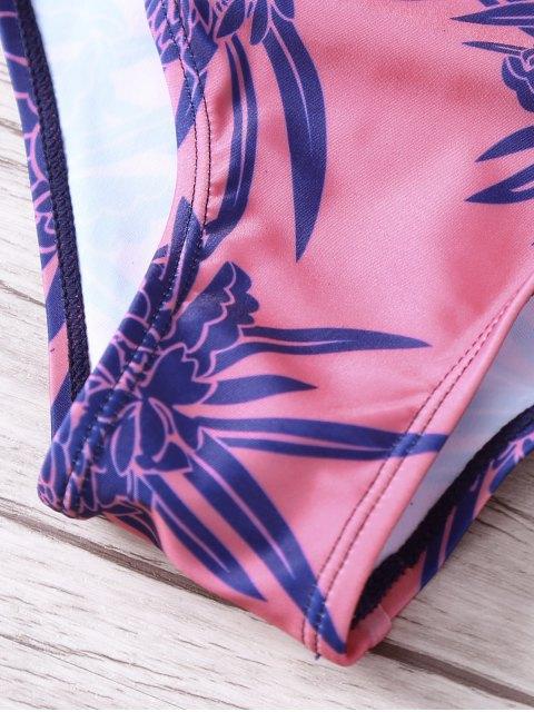 ladies Tropical Print Spaghetti Straps One Piece Swimwear - RED L Mobile