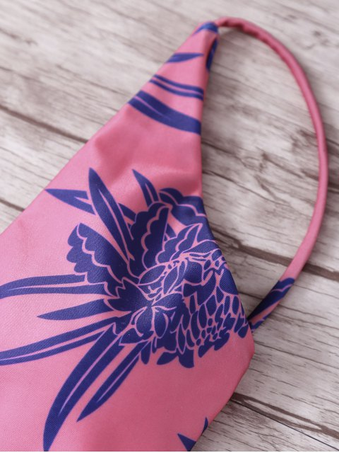 lady Tropical Print Spaghetti Straps One Piece Swimwear - RED M Mobile