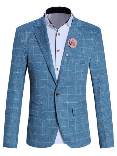 Modische Reverskragen Langarm-Karo-Blazer für Männer - Blau M Mobile