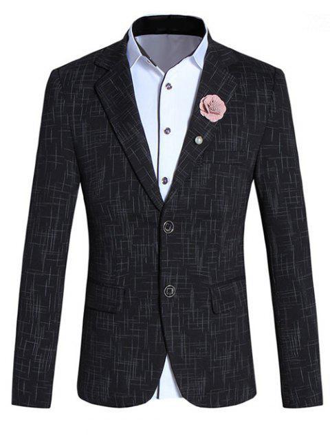 Chic Lines design col à revers manches longues Slim Fit Blazer pour homme - Noir L Mobile