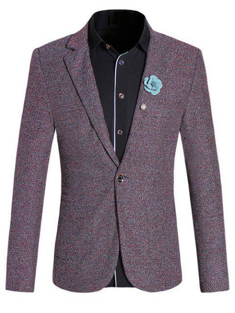 Chic Texture design col à revers manches longues rouge Melange Slim Blazer pour homme - Rouge Foncé L Mobile