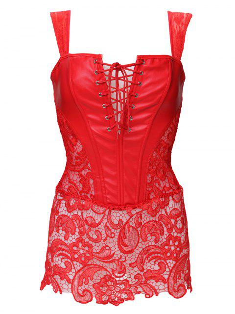 affordable Lace Up Faux Leather Corset With G-String - RED M Mobile