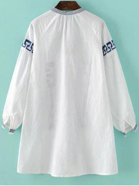 sale Round Neck Embroidered Long Sleeve Dress - WHITE S Mobile