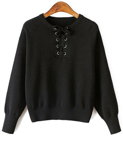 shop Lace-Up Round Neck Long Sleeve Sweater - BLACK ONE SIZE Mobile