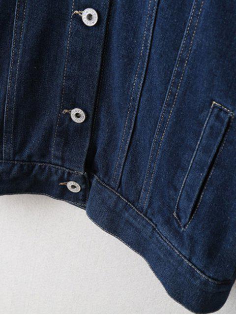 women Embroidered Bat Wing Sleeve Denim Jacket - BLUE M Mobile