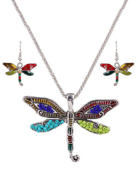 Multicolor Perlen Libelle Halskette Set - Silber  Mobile
