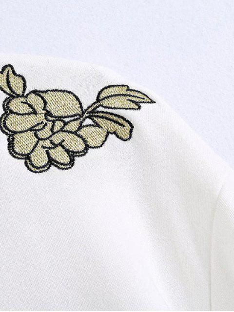 new Embroidered Round Neck Long Sleeve Sweatshirt - WHITE M Mobile