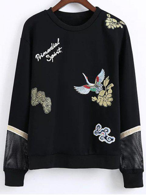 shop Embroidered Round Neck Long Sleeve Sweatshirt - BLACK S Mobile