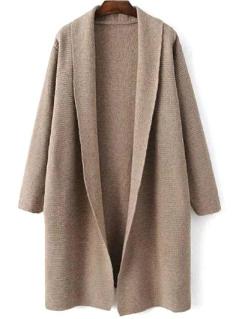 womens Loose Fitting Turn-Down Collar Long Sleeve Cardigan - LIGHT KHAKI ONE SIZE Mobile