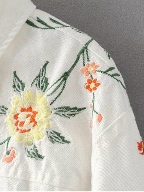 shops Floral Embroidered Turn-Down Collar Jacket - WHITE L Mobile