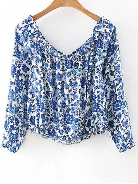 outfit Printed Off The Shoulder Long Sleeve T-Shirt - BLUE M Mobile