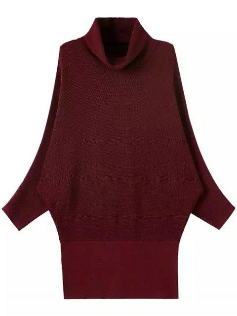 affordable Solid Color Turtle Neck Batwing Sleeve Sweater - WINE RED ONE SIZE Mobile