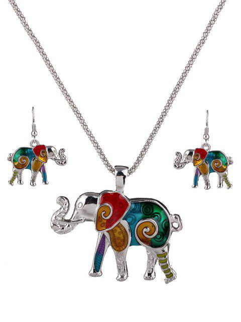 Émail Multicolor Elephant Collier Set - coloré  Mobile