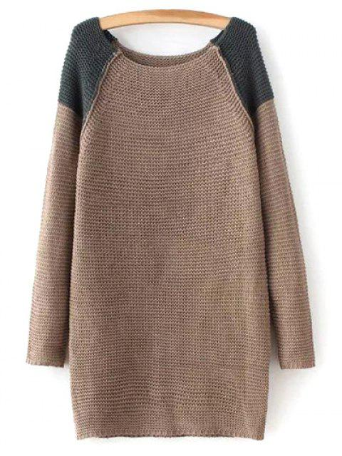 women's Raglan Sleeve Color Block Sweater - BROWN ONE SIZE Mobile