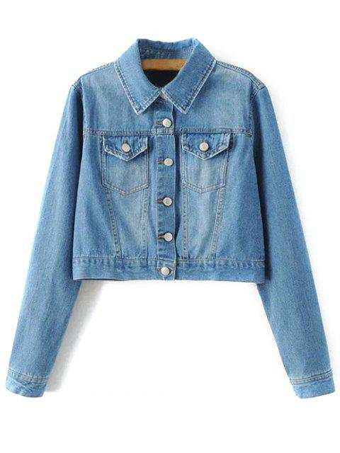 women Embroidered Back Denim Jacket - BLUE S Mobile