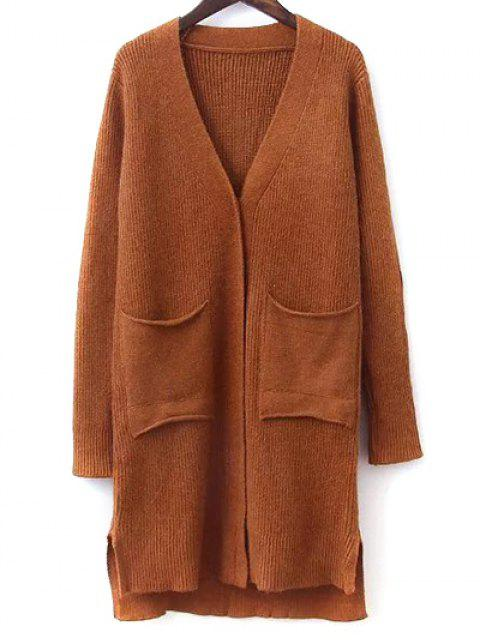 new Elbow Patch High Low Hem Cardigan - GINGER ONE SIZE Mobile