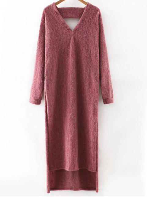 womens Maxi Slit Sweater Dress - PURPLISH RED M Mobile