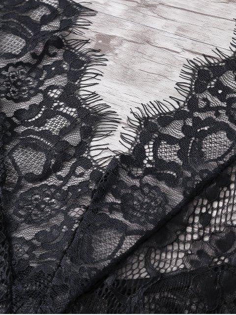 hot Halterneck Cut Out Black Lace Teddies - BLACK L Mobile