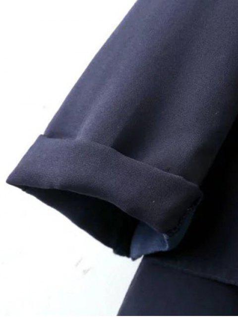 buy Side Slit Lapel Neck Long Sleeve Trench Coat - PURPLISH BLUE L Mobile