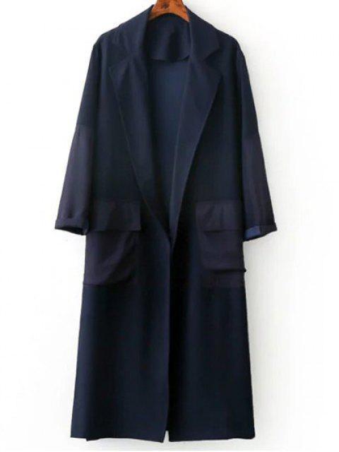 womens Side Slit Lapel Neck Long Sleeve Trench Coat - PURPLISH BLUE M Mobile