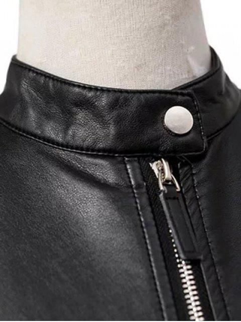 outfits Dragon Embroidered Stand Collar Faux Leather Jacket - BLACK L Mobile