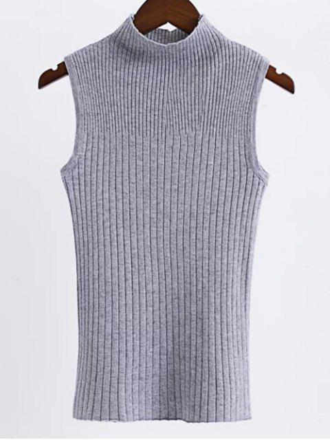 new Sleeveless High Neck Sweater - GRAY ONE SIZE Mobile