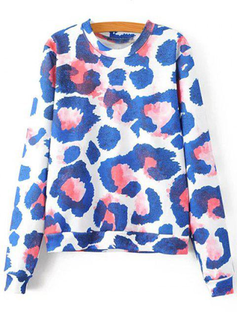 Leopardo colorido de cuello redondo de la camiseta de manga larga - Azul M Mobile