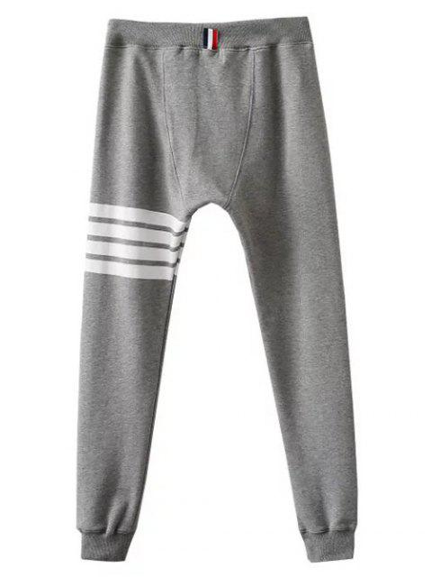 online Striped Drawstring Active Pants - GRAY S Mobile