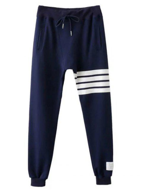 new Striped Drawstring Active Pants - PURPLISH BLUE L Mobile