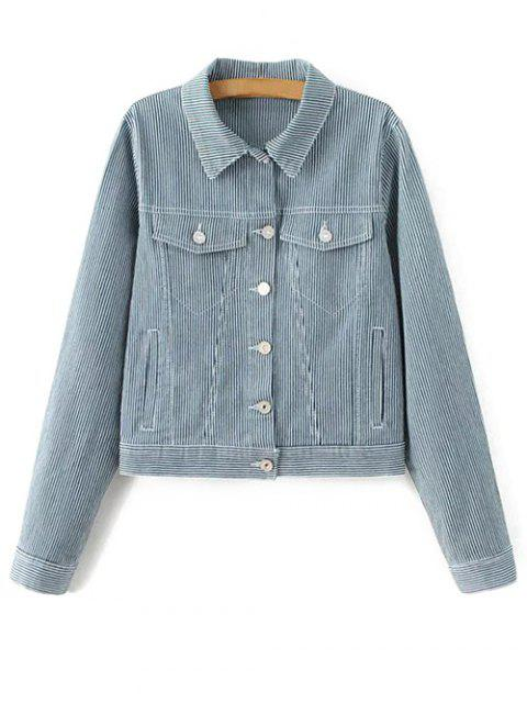 women's Striped Denim Jacket - BLUE L Mobile