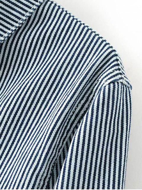 women's Striped Denim Jacket - BLUE L Mobile