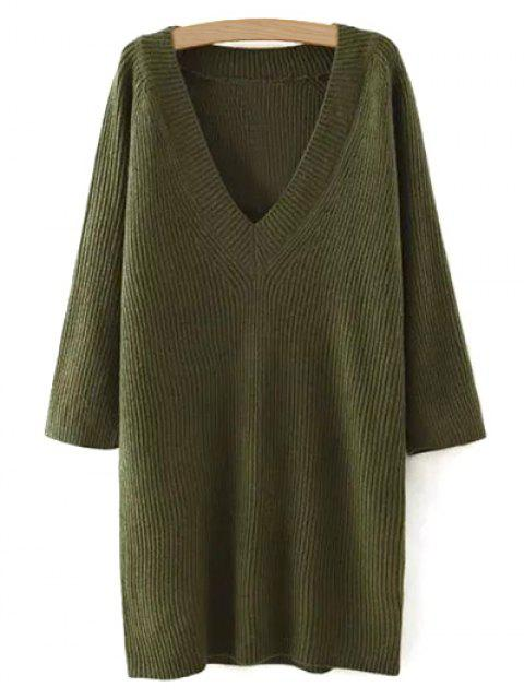 best Solid Color Plunging Neck Sweater Dress - GREEN ONE SIZE Mobile