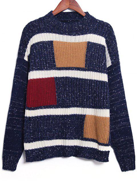 Geometrische Muster Pullover - Schwarzblau Eine Größe Mobile