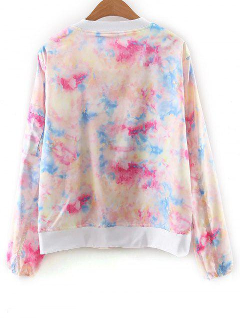 women Tie Dye Print Stand Neck Jacket - COLORFUL S Mobile