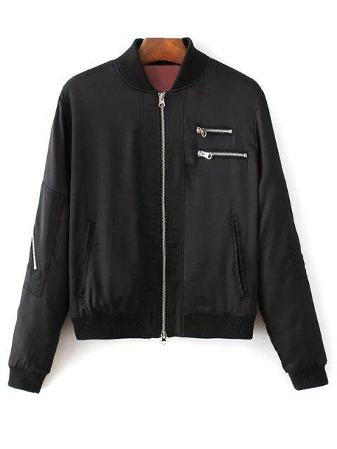 womens Slim Zipper Embellished Stand Collar Bomber Jacket - BLACK S Mobile