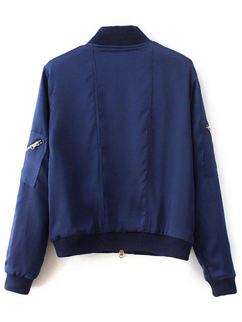 ladies Slim Zipper Embellished Stand Collar Bomber Jacket - BLUE S Mobile