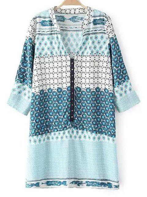 hot V Neck 3/4 Sleeve Shift Dress - LIGHT BLUE XL Mobile