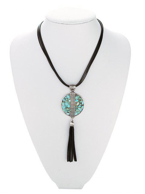 Géométrique Turquoise Collier Fringe - Noir  Mobile