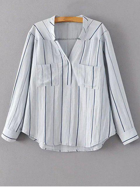 new V Neck Full Sleeve Blouse - LIGHT BLUE S Mobile