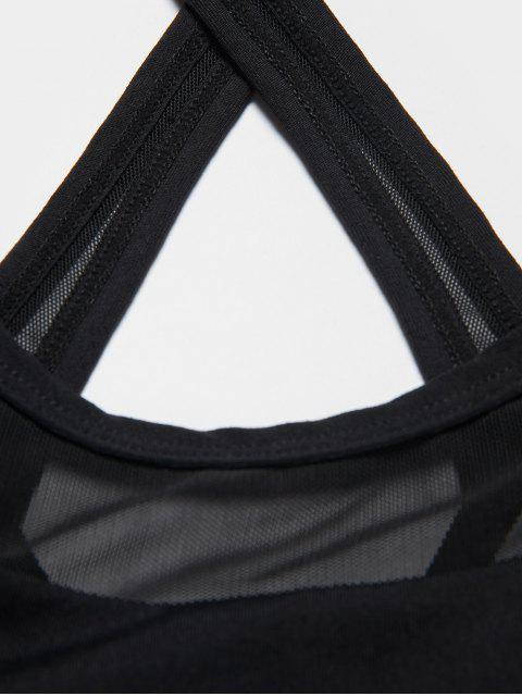 outfits Mesh Inset Gym Bra - BLACK S Mobile