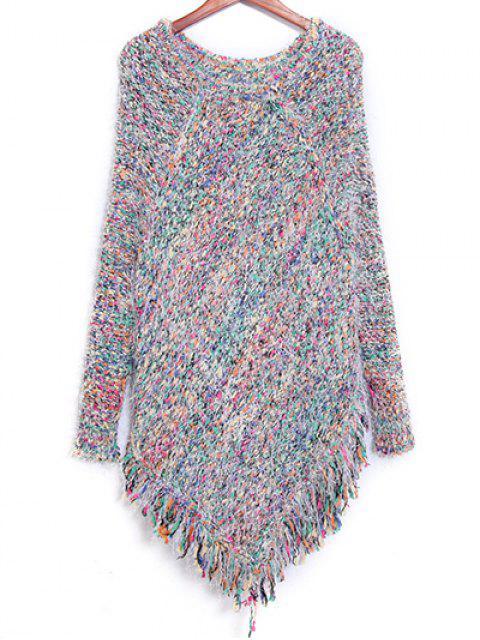 Bunter gestreifter Pullover mit Frans - Farbig Eine Größe Mobile