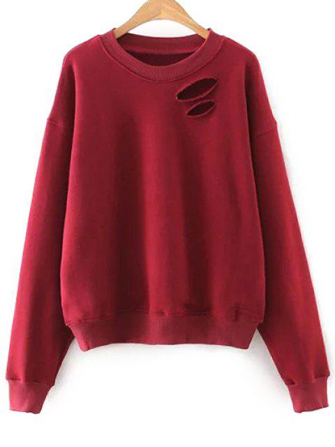 shop Solid Color Round Neck Cutout Sweatshirt - RED S Mobile
