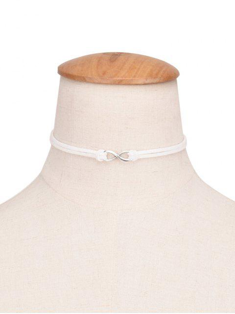 buy 8 Shape Velvet Choker - WHITE  Mobile