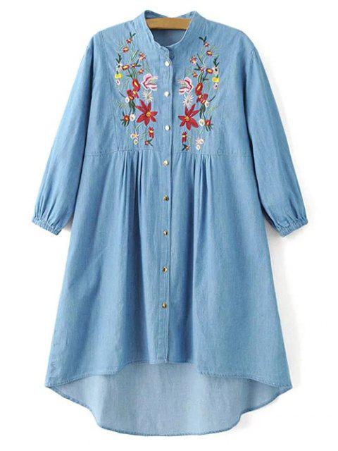 online Floral Embroidered High Low Chambray Tunic Dress - BLUE S Mobile