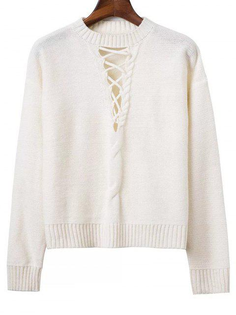 shops Cable Knit Lacing Sweater - WHITE ONE SIZE Mobile