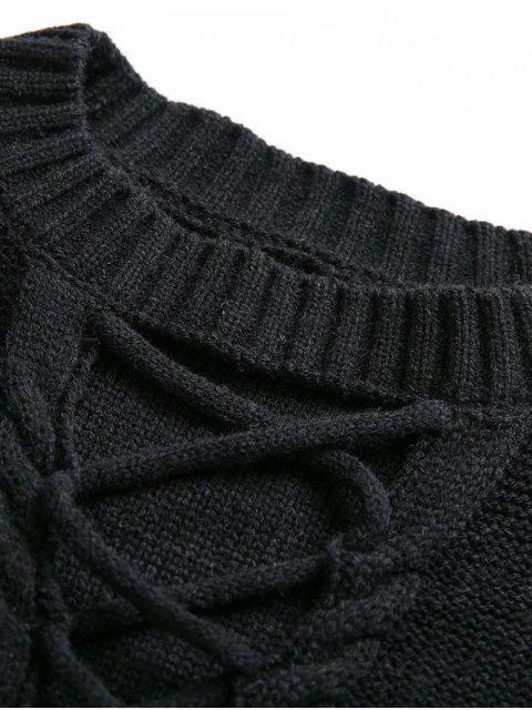 latest Cable Knit Lacing Sweater - KHAKI ONE SIZE Mobile