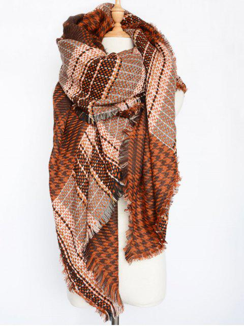 womens Houndstooth Woven Shawl Scarf - DARK RED  Mobile