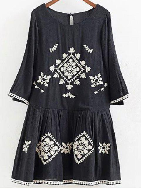 buy A Line Neck Embroidered Dress - BLACK S Mobile