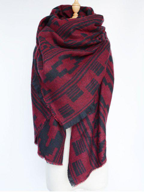women Geometric Large Shawl Scarf - DARK RED  Mobile